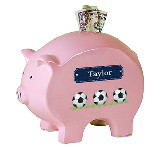 Personalized Pink Piggy Bank with Soccer Balls design