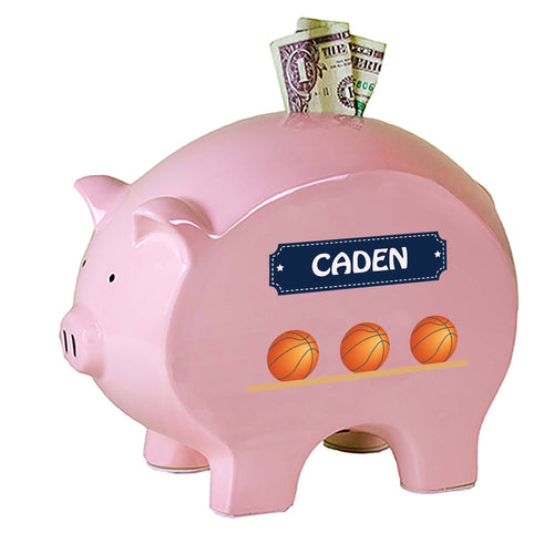 Personalized Pink Piggy Bank with Basketballs design