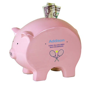Personalized Pink Piggy Bank - Tennis