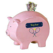 Personalized Pink Piggy Bank with Tennis design