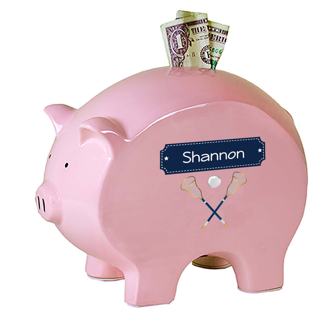 Personalized Pink Piggy Bank with Lacrosse Sticks design