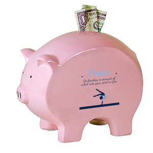 Personalized Pink Piggy Bank - Gymnastics
