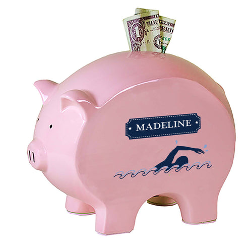 Personalized Pink Piggy Bank with Swim design