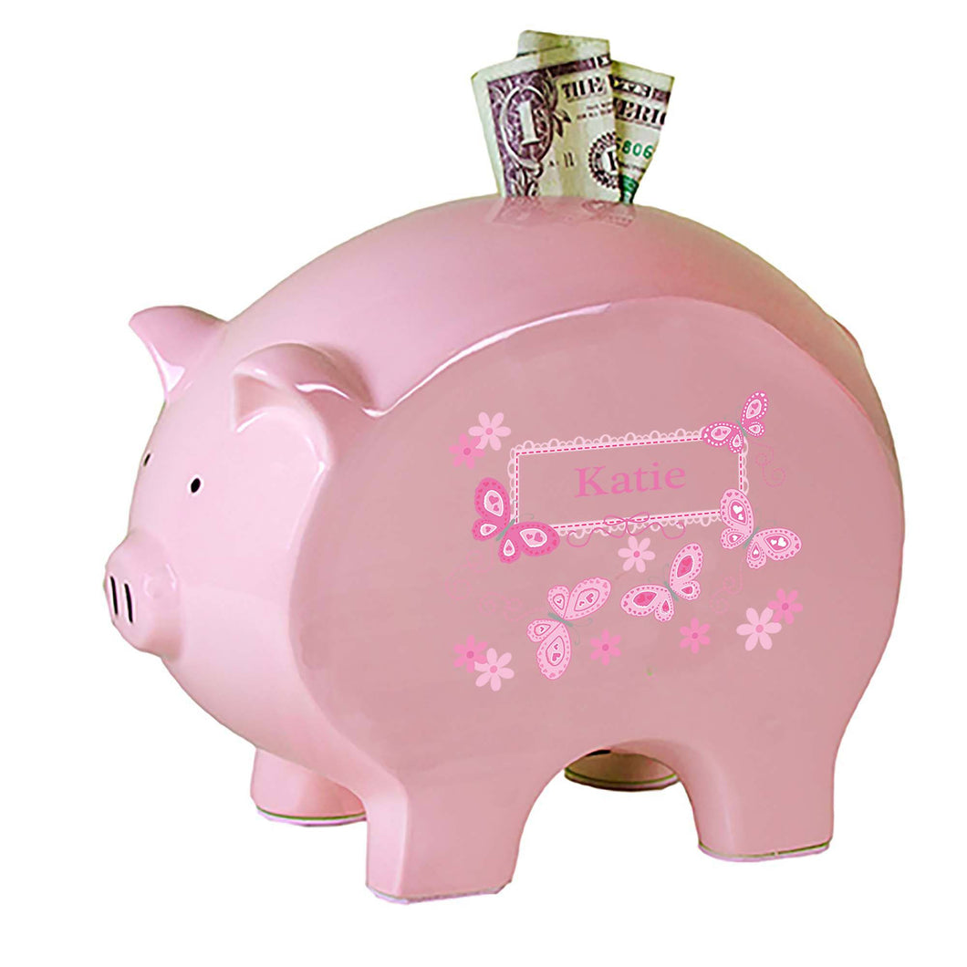 Personalized Pink Piggy Bank with Butterflies Pink design