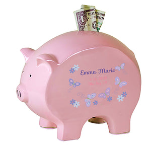 Personalized Pink Piggy Bank - Lavender Butterflies