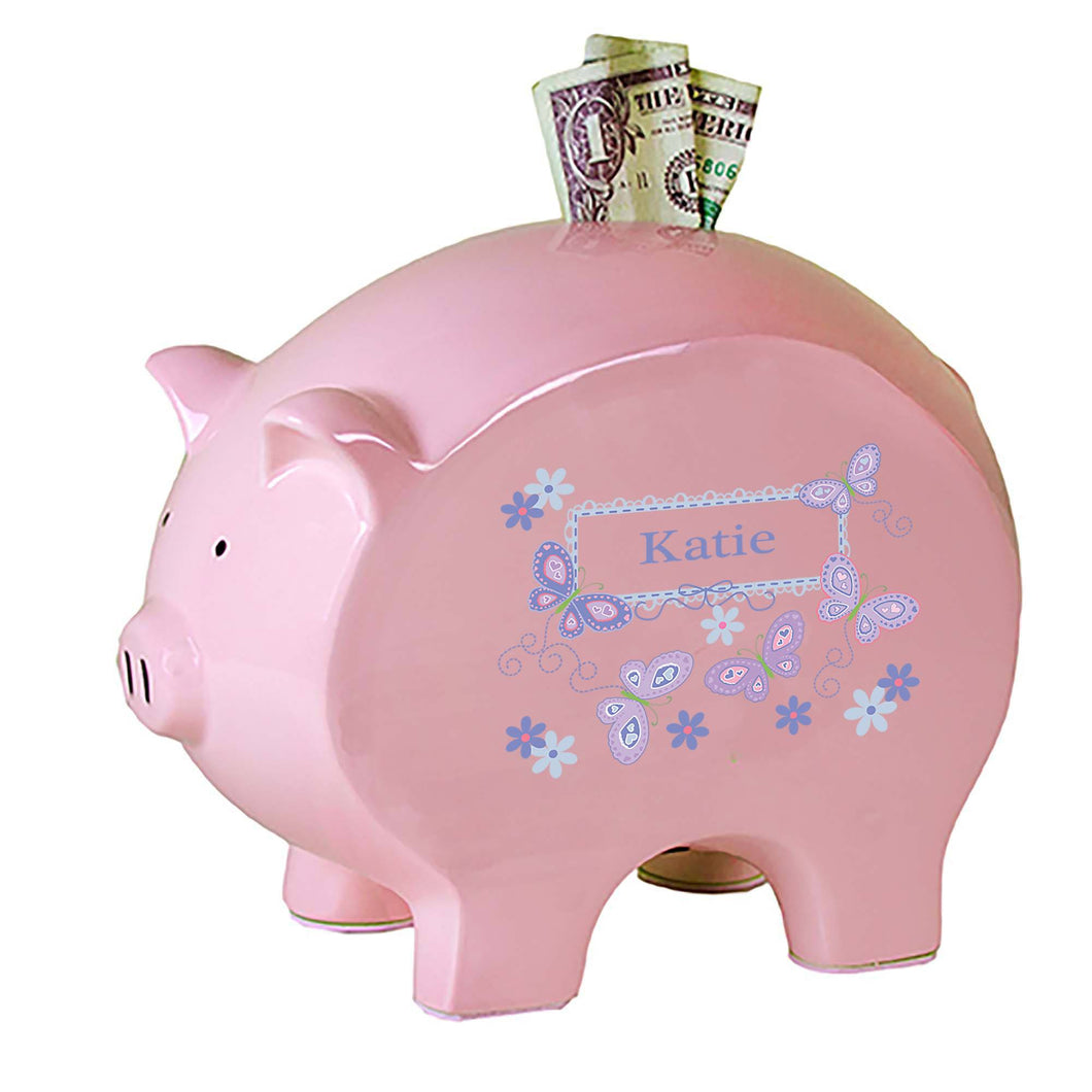Personalized Pink Piggy Bank with Butterflies Lavender design