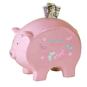 Personalized Pink Aqua Buttefly Flat Piggy Bank