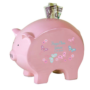 Personalized Pink Piggy Bank - Aqua Pink Butterflies