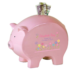 Personalized Pink Piggy Bank - Stemmed Flowers