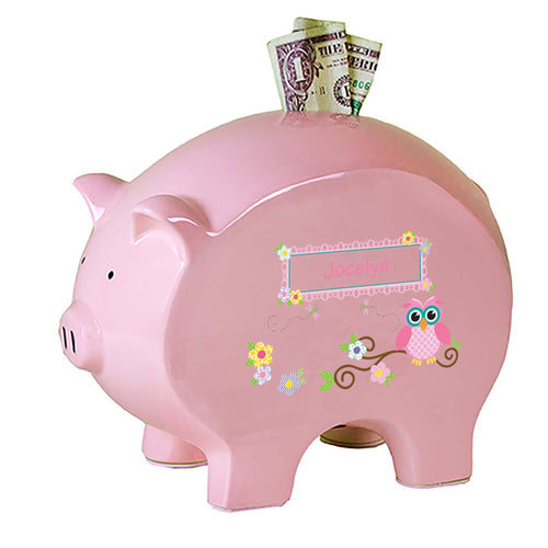 Personalized Pink Piggy Bank with Pink Owl design