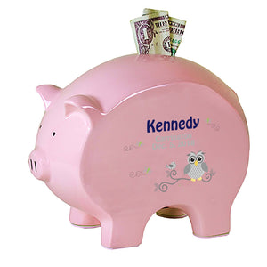 Personalized Pink Piggy Bank - Gray Owl
