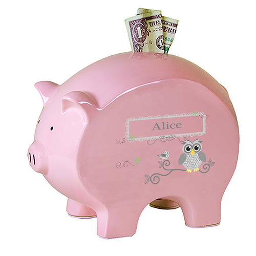 Personalized Pink Piggy Bank with Gray Owl design