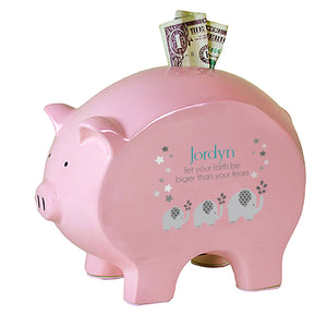 Personalized Pink Piggy Bank - Gray Elephant