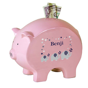 Personalized Pink Piggy Bank with Navy Elephant design