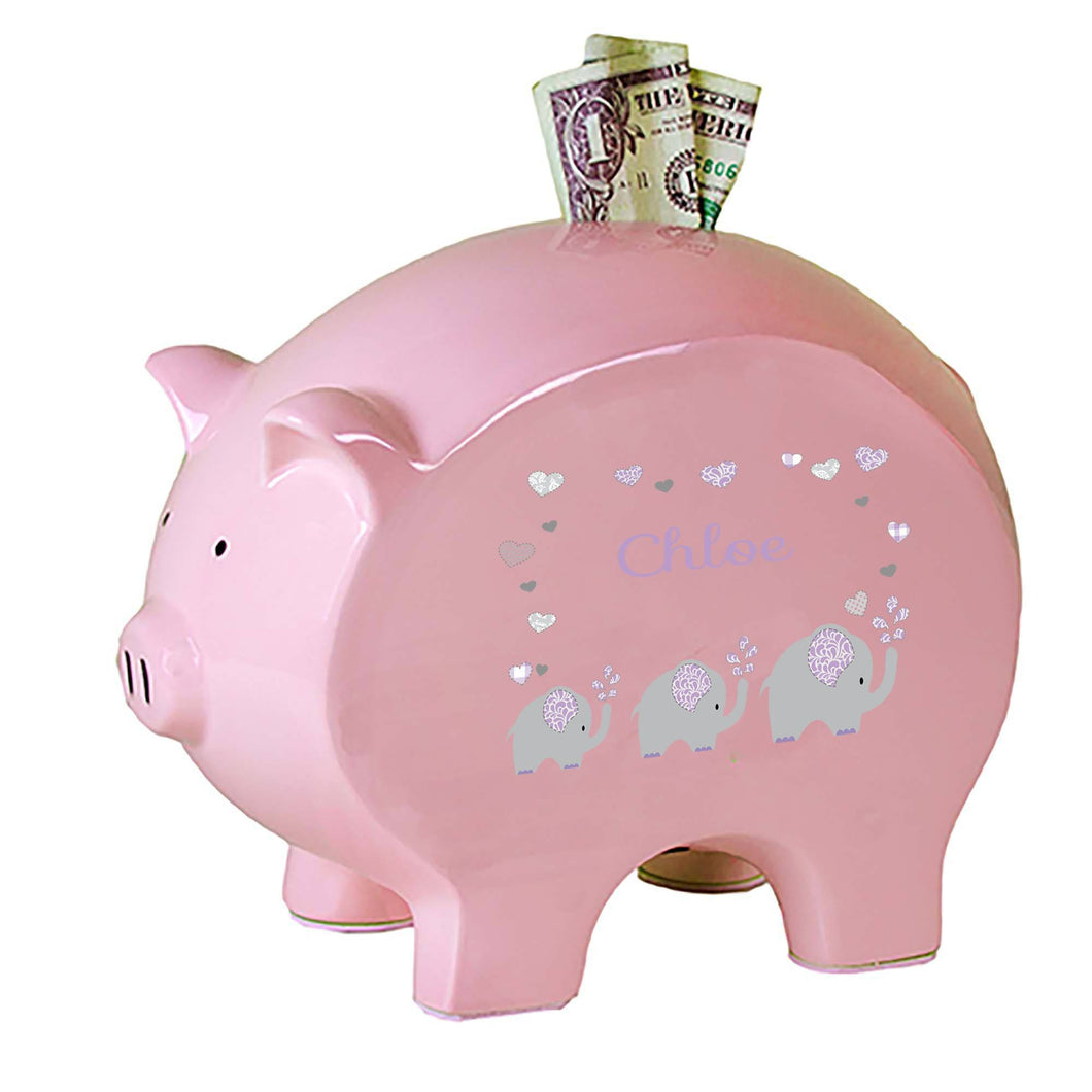 Personalized Pink Piggy Bank with Lavender Elephant design