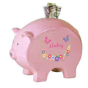 Personalized Pink Piggy Bank with Bright Butterflies Garland design