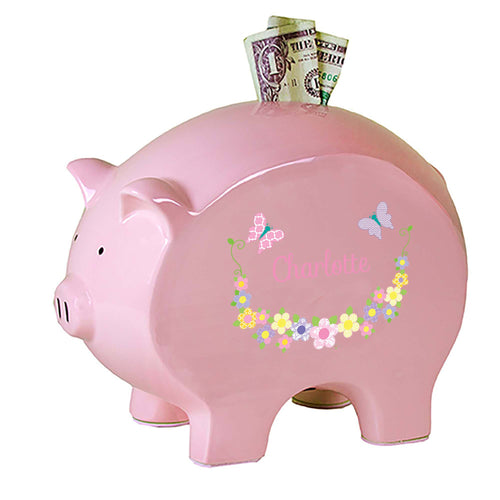 Personalized Pink Piggy Bank with Pastel Butterflies design