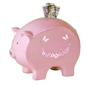Personalized Pink Piggy Bank with Pink and Gray Butterflies design