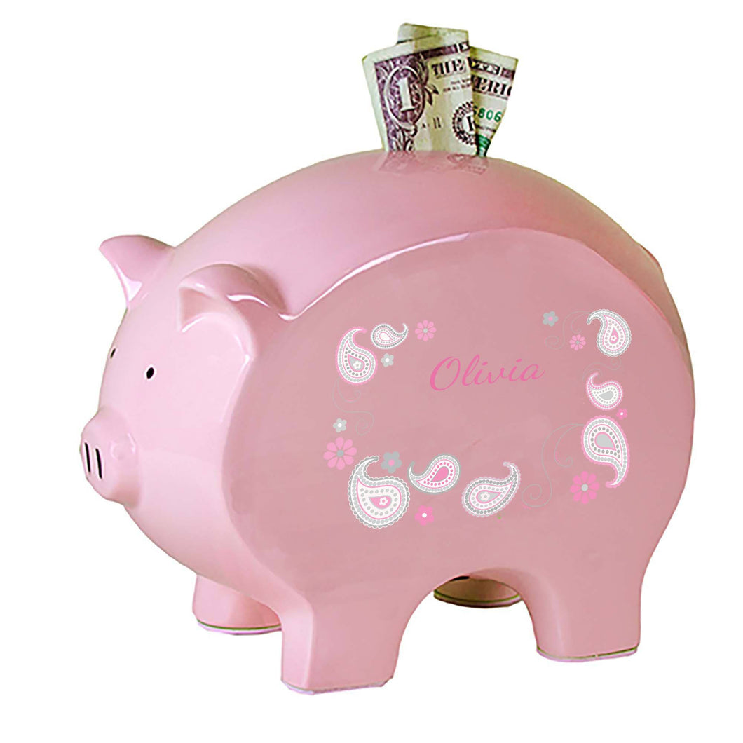 Personalized Pink Piggy Bank with Paisley Pink Gray design
