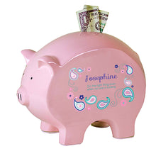 Personalized Pink Piggy Bank - Pink Teal Paisley