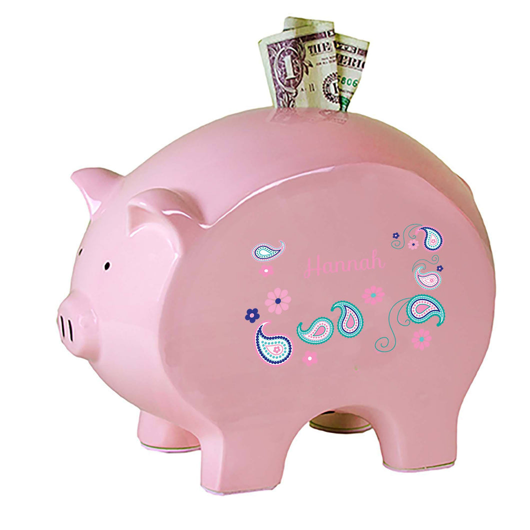 Personalized Pink Piggy Bank with Paisley Teal and Pink design