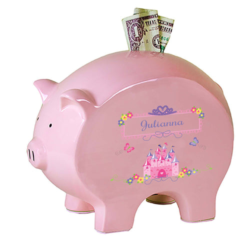 Personalized Pink Piggy Bank with Princess Castle design