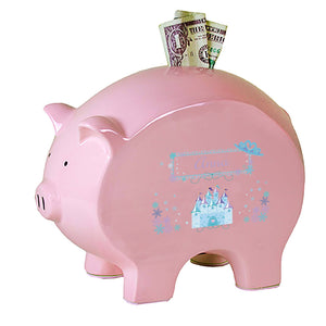 Personalized Pink Piggy Bank with Ice Princess design