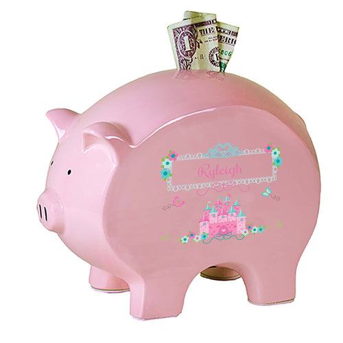 Personalized Pink Piggy Bank with Pink Teal Princess Castle design