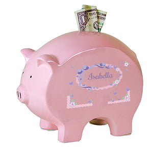 Personalized Pink Piggy Bank with Lacey Bow design