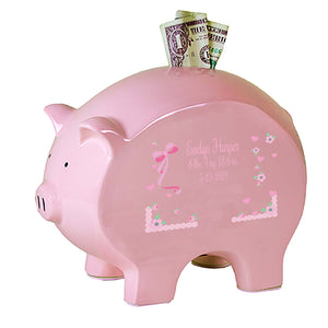 Personalized Pink Piggy Bank - Pink Lacey Bow
