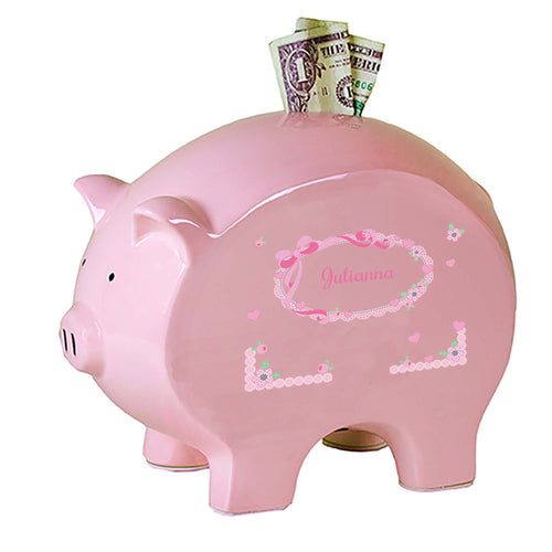 Personalized Pink Piggy Bank with Pink Bow design