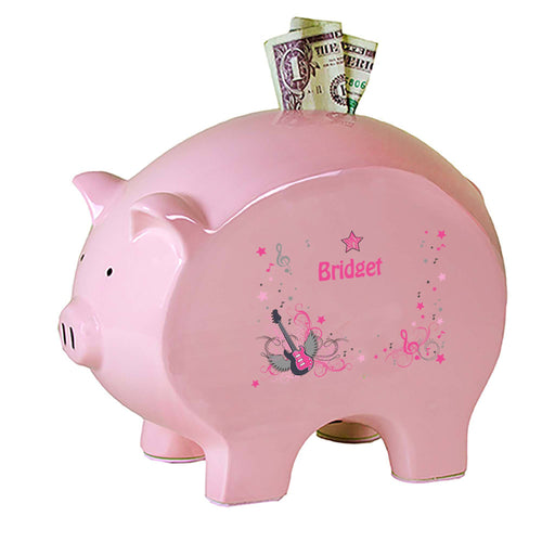 Personalized Pink Piggy Bank with Pink Rock Star design