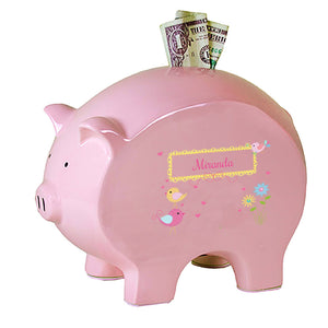 Personalized Pink Piggy Bank with Lovely Birds design