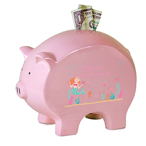 Personalized Red Hair Mermaid Flat Piggy Bank