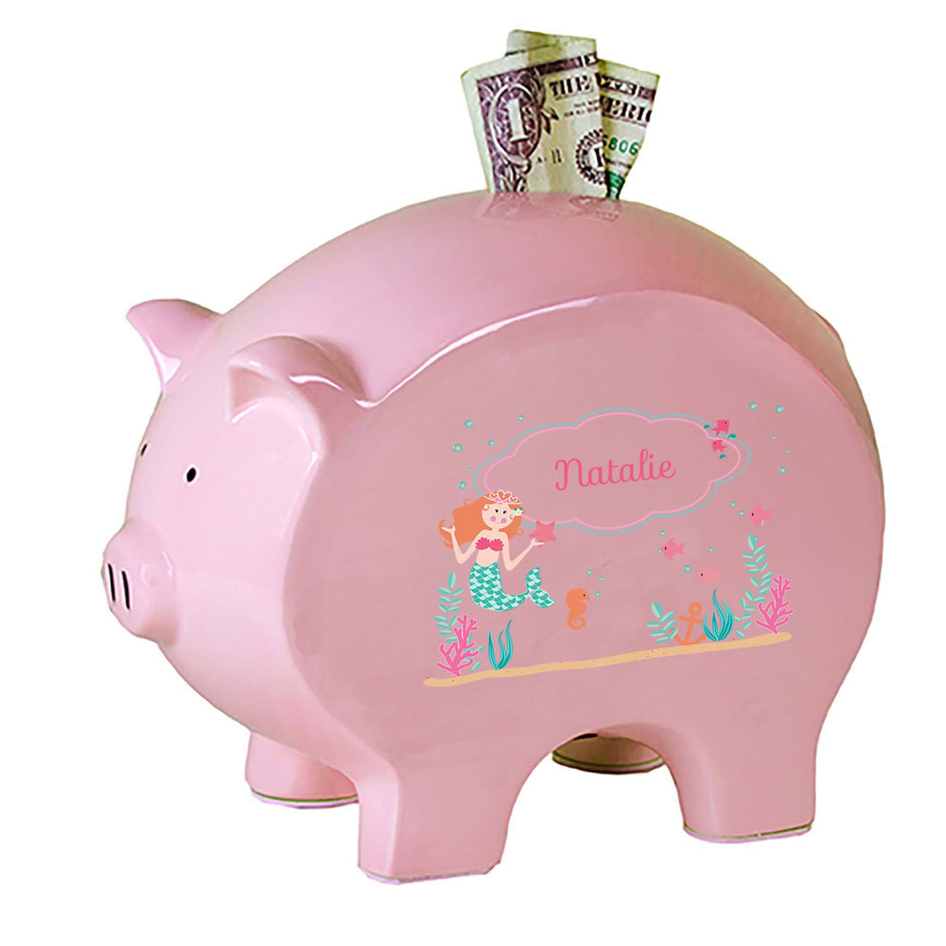 Personalized Pink Piggy Bank with Mermaid Princess design