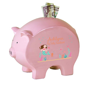 Personalized Brown Hair Mermaid Flat Piggy Bank