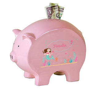 Personalized Pink Piggy Bank with Brunette Mermaid Princess design