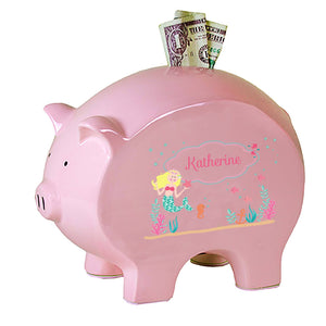 Personalized Pink Piggy Bank with Blonde Mermaid Princess design