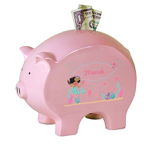 Personalized Pink Piggy Bank with African American Mermaid Princess design
