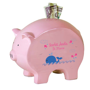 Personalized Pink Whale Flat Piggy Bank