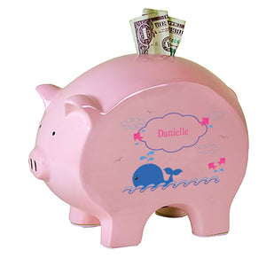 Personalized Pink Piggy Bank with Pink Whale design