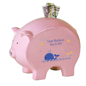 Personalized Blue Whale Flat Piggy Bank