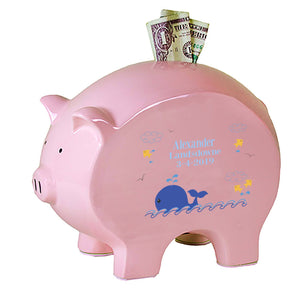 Personalized Pink Piggy Bank - Blue Whale