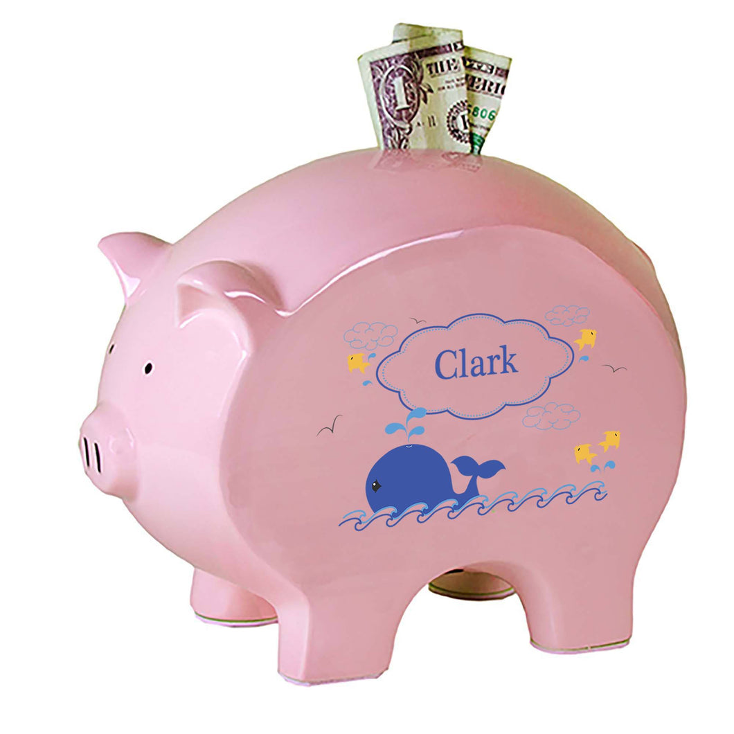 Personalized Pink Piggy Bank with Blue Whale design