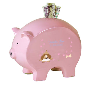 Personalized Puppydog Flat Piggy Bank