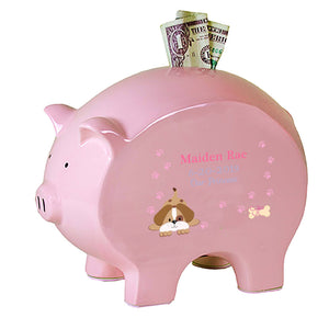 Personalized Pink Piggy Bank - Pink Puppy