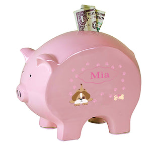 Personalized Pink Piggy Bank with Pink Puppy design
