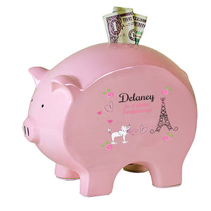 Personalized Pink Piggy Bank - Oh La La Paris