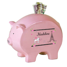 Personalized Pink Piggy Bank with French Paris design