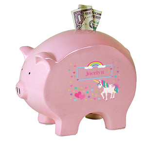 Personalized Pink Piggy Bank with Unicorn design